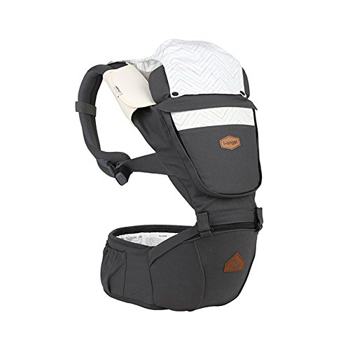 I-angel Nature Baby Carrier Hipseat Front Backpack Organic Cotton Teething Pads 8 Position (Moon Charcoal)