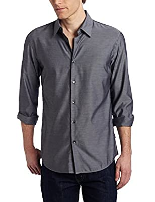 Calvin Klein Men's Solid Slim-Fit Button-Front Shirt