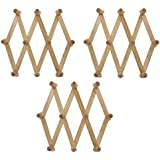 Set Of 3 ALAZCO Accordion Style Wood Expandable Wall Rack For Hat, Cap, Belt, Umbrella Coffee Mug Jewelry Hanging wooden Pegs