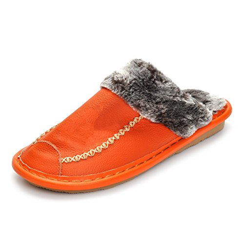 Matt Keely Soft Warm Winter Women Slippers With Plush Fur Genuine Leather Shoes Slip-Resistant Indoor Slippers Orange