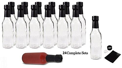 Premium Vials, Hot Sauce Woozy Bottles, 5 Oz with Black Caps