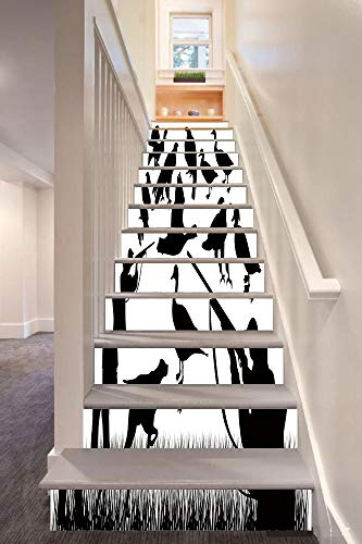 Hunting Decor 3D Stair Riser Stickers Removable Wall Murals Stickers,Silhouettes of Wild Animals and Huntsman Grouse Mallard Duck Eagle Grass Decorative,for Home Decor 39.3
