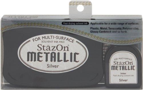 Tuskineko Stazon Metallic Ink Kit, Silver by Tsukineko