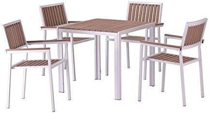 Conjunto terraza aluminio blanco lamas poliwood natural Beach 4 sillas mesa 80x80: Amazon.es: Jardín