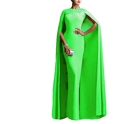 Ellenhouse Women's Long Mermaid Formal Gown Prom Evening Dresses with Cape EL349 Lime