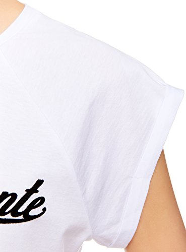 oodji Ultra Mujer Camiseta de Algodón con Mangas Raglán Blanco (1025P)