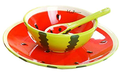 (Ceramics Fruit Shape Salad Bowl Plate Spoon,Set of 3 -Apple/ Strawberry/ Carambola/ Watermelon/ Orange/)