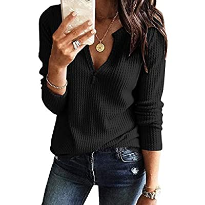 Women's V Neck Waffle Knit Henley Tops Casual Long Sleeve Pullover Sweater Blouses at Women's Clothing store