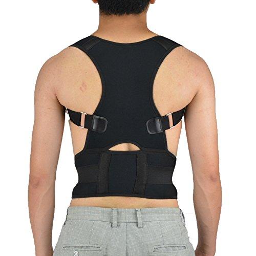 Magnetic Posture Corrector Adjustable Waist Lumbar Support Back Brace Shoulder Support Belt Improves Posture and Provides Lumbar Support Relief Lower and Upper Back Pain (Black, M)