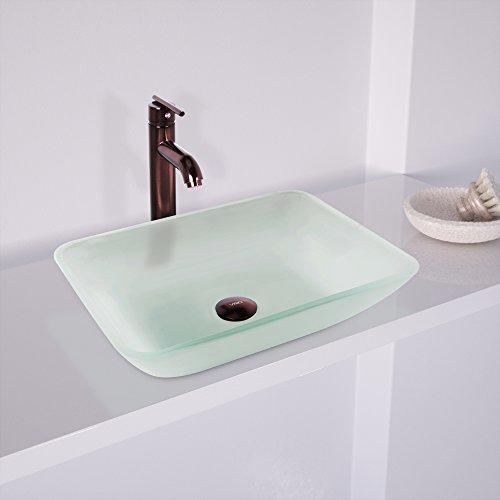 VIGO VG07083 Rectangular White Frost Glass Vessel Bathroom Sink, White Frost/Rectangular White Frost by VIGO (Image #1)