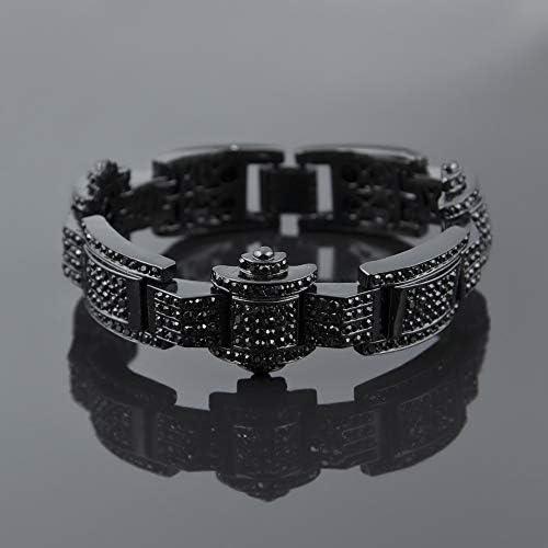 メンズブレスレット、ダイヤモンドクールなファッションスタイルのメッキブレスレット、クラシックポリッシュメンズ誕生日ギフト