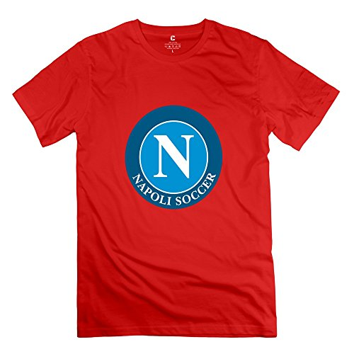 Yisw Male SSC Napoli T-Shirt XS Red Short Sleeve Quotes T-Shirts (Red Napoli Shirt)