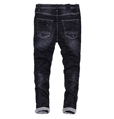 Skinny Fit Casual Strappati Denim Pantaloni Retrò In Con Da Uomo Distrutti Slim Nero Jeans EwTwH0