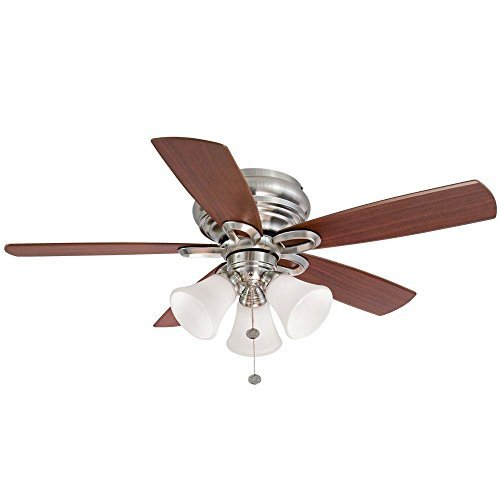Hampton Bay Clarkston 44 In. Brushed Nickel Ceiling Fan with Light Kit by Hampton Bay