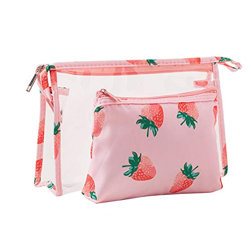Strawberry Makeup - Cosmetic Pouch Bag for Women Clear Portable Waterproof Toiletry Organizer Bags with PVC and Zipper for Travel Makeup Business Trip Strawberry by Fiphie