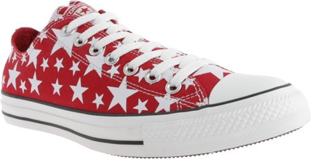 Converse Unisex Chuck Taylor All Star Ox Sneaker Rood / Witte Sterren