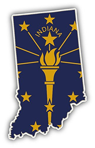 - Indiana USA State Map Flag Vinyl Decal Bumper Sticker 3'' X 5''