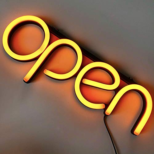 LED Neon Open Sign for Business - Bright LED Open Sign with ON & Off Switch - Lightweight & Energy Efficient for Restaurants Offices Retail Shops Window Storefronts - Orange