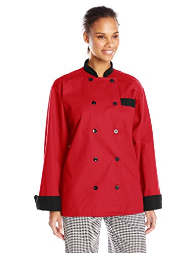 Coat Spun Polyester Chef - Uncommon Threads Unisex Newport Chef Coat with Black Or Hounds tooth Trim, Red/Black, Large