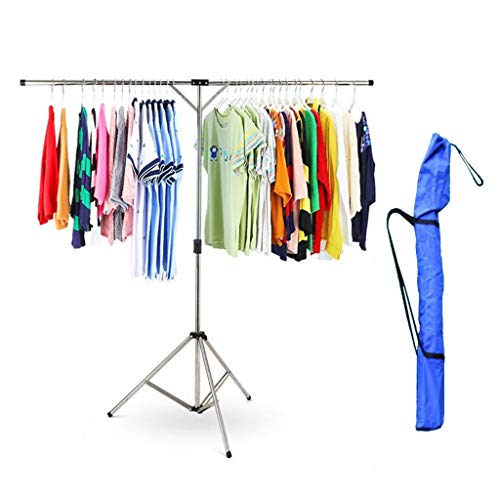 JIAJU Airer- Clothes Airer, Telescoping 125~185cm, Folding Stainless Steel Laundry Drying Rack Adjustable Tripod (with Storage Bag)
