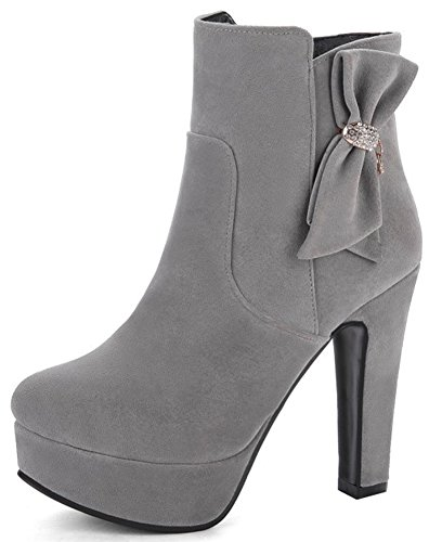 IDIFU Womens Fashion Bows Faux Suede Round Toe Side Zipper Ankle High Boots With Chunky Boots Gray MurqP0MG