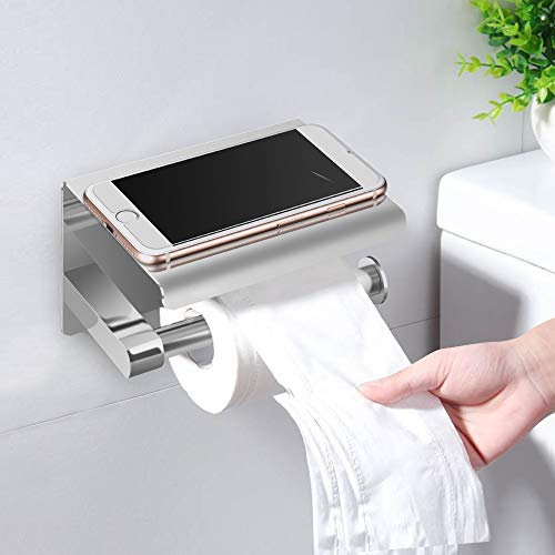 I LOVE EF IFECCO Toilet Paper Holder Stainless Steel Toilet Roll Holder with Phone Shelf Wall Mounted Bathroom Tissue Holder