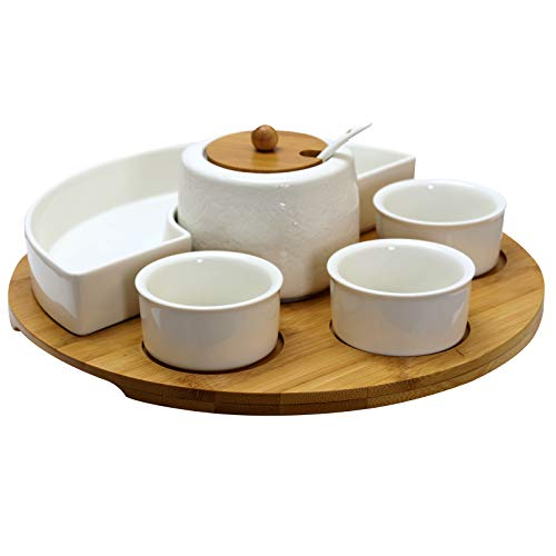 Elama EL-159 Signature 8 Piece Appetizer Set with 4 Dishes, Center Condiment Server, Spoon, and Bamboo Serving Tray, White