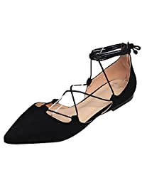 Jamron Women Soft Faux Suede Flat Pointed Toe Pumps Fancy Cross Lace Up Ballerinas Shoes