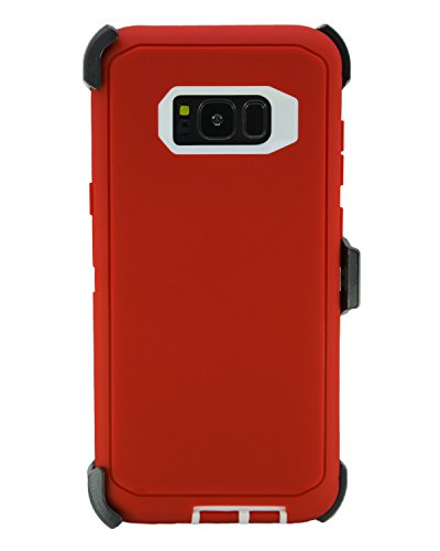 Garnet Red Case - WallSkiN Turtle Series Cases for Samsung Galaxy S8 Plus (Only) Tough Protection with Kickstand & Holster - Garnet (Red/White)