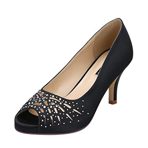 ERIJUNOR E1941 Women Peep Toe Comfort Low Heel Platform Rhinestones Satin Wedding Bridal Evening Dress Shoes Black Size ()