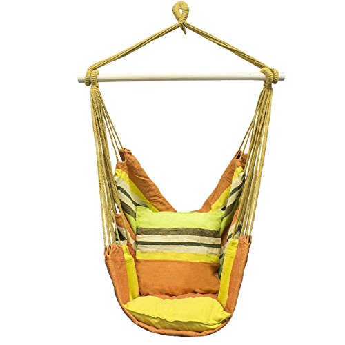 QIYAT Canvas Hammock Hanging Rope Chair Colorful Striped ...