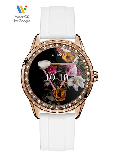 GUESS Women's Stainless Steel Android Wear Touch Screen Silicone Smart Watch, Color: White (Model: C1003L1)