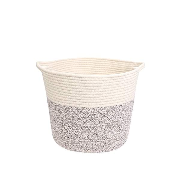 "Cotton Rope Storage Basket 14.5""x12""x11.8"" Woven Baby Laundry Basket for Blankets Toys Storage Basket with Handle Storage Bins Thread Laundry Hamper"