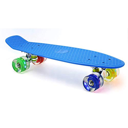 "Merkapa 22"" Complete Skateboard with Colorful LED Light Up Wheels for Beginners (Blue)"