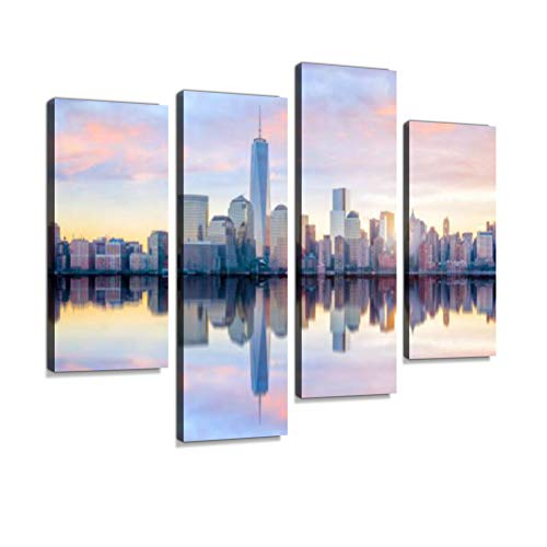 Manhattan Skyline with The One World Trade Center Building at Twilight Canvas Wall Art Hanging Paintings Modern Artwork Abstract Picture Prints Home Decoration Gift Unique Designed Framed 4 Panel