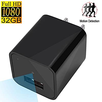 SpyGear-UYIKOO Hidden Spy Camera Motion Activated USB Wall Charger Camera Adapter Nanny Cam Home Security Cam Camcorder HD1080P With 32GB Internal Memory - UYIKOO