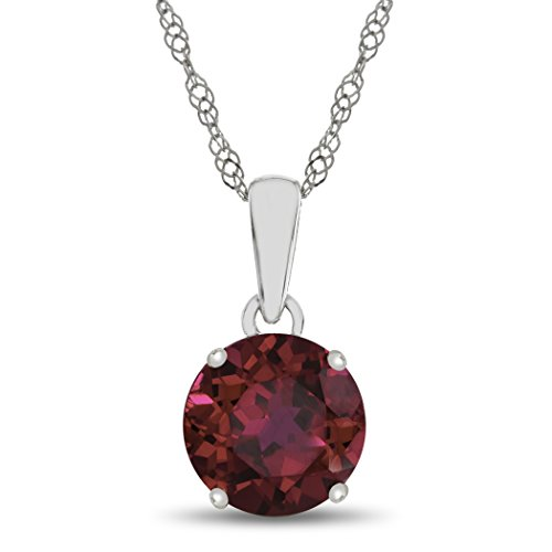 Finejewelers 10k White Gold 7mm Round Created Ruby Pendant Necklace 10k Gold Ruby Pendant