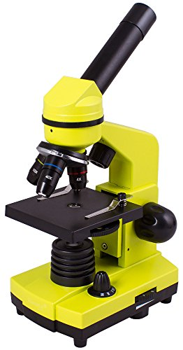 Levenhuk Rainbow 2L Lime Portable Microscope for Children with Experiment Kit, Upper and Lower LED Light for Observing All Kinds of - Nosepiece Yellow
