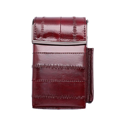 Automatic Rising Genuine Eel Skin Leather Sliding Cigarette Case with Lighter Holder (Wine) (Brown Eel Leather Case)
