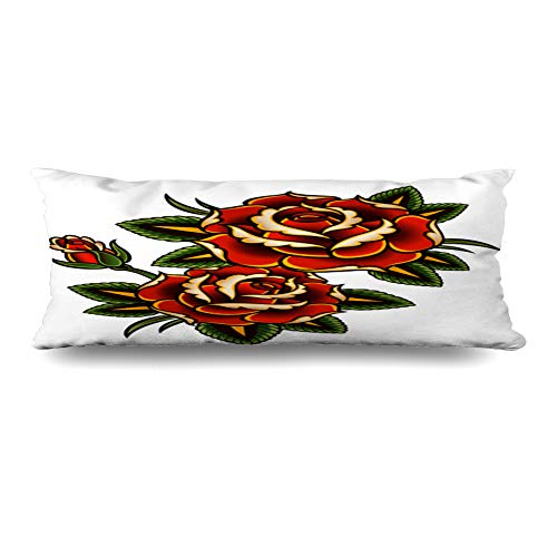 (Ahawoso Body Pillows Cover 20x54 Inches Summer Red Flower Tattoo Roses Pink Vine Thorn Pattern Border Outline Curl Decorative Cushion Case Home Decor Pillowcase)