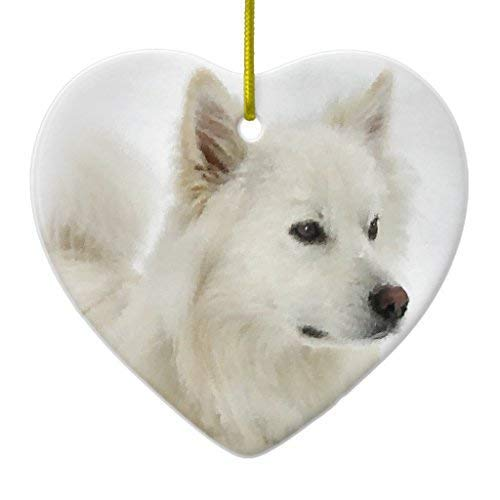 - Delia32Agnes American Eskimo Dog Art Christmas Ornaments Ceramic Double Sided Christmas Tree Decorations Hanging 3 Inches