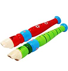 Assorted Colors Wooden Flute Musical Instruments - For Kids,Teenagers,Students, Great Party Sound Player, Musical Instrument Toy Gift, PrizeUse As musical recorder instrument,american baby girl instruments,ease rythem autism toys,wooden flute...