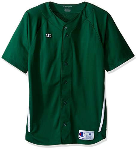 S/s Full Button Jersey (Champion Men's Prospect Full Button Jersey, Athletic Dark Green/White, S)