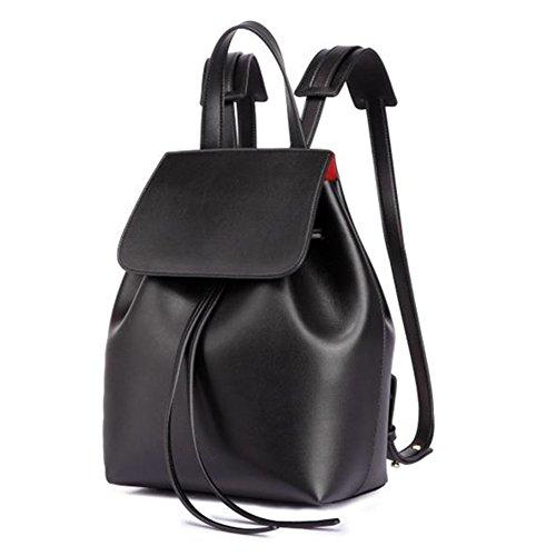 Bucket Drawstring Leather Black Lady Satchel Soft for Women Backpack Large L Girl Shoulders Bag qdE4xX1w