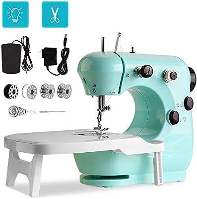 Máquina de coser portátil Mini máquina de coser para principiantes, con mesa de extensión, pedal, hilo doble de 2 velocidades para principiantes domésticos, adultos y niños.: Amazon.es: Hogar