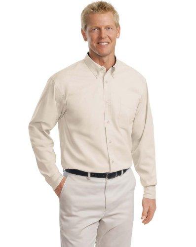 Port Authority TLS608 Tall Long Sleeve Easy Care Shirt - Light Stone/Classic Navy - XLT