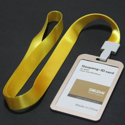 Dezhi 6002 2248 High End Aluminum Alloy Work Card Holder Id Ic Card Badge Holder   Colorful Polyester Lanyard Brand New Products  Gold Case Yellow Lanyard