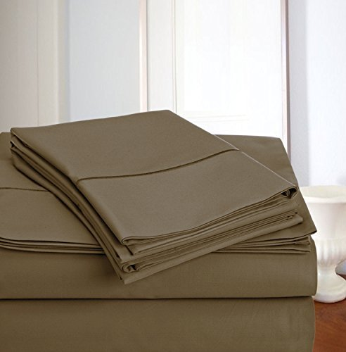 ADDY HOME FASHIONS Luxury Deep Pocket 800 Thread Count Egyptian Cotton Sheet Set Taupe King