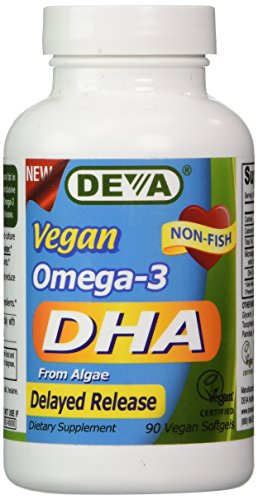 Deva Vegan Omega-3 DHA, Algae 200mg, Delayed Release 90 Vcap