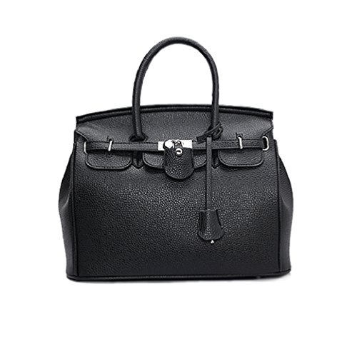 Womens Top Handle Satchel Handbags Designer Tote Purse Shoulder Bag Leather  Padlock Briefcase Laptop Bag - Black. by lemontrip fb2df3896